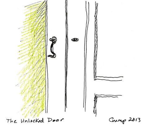 """The Unlocked Door,"" Carol Crump Bryner, pen and colored pencil, 2013"
