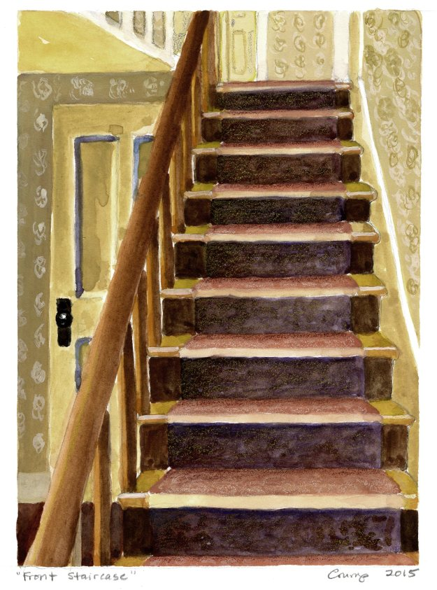 """Front Staircase,"" Carol Crump Bryner, gouache and colored pencil, 2015"