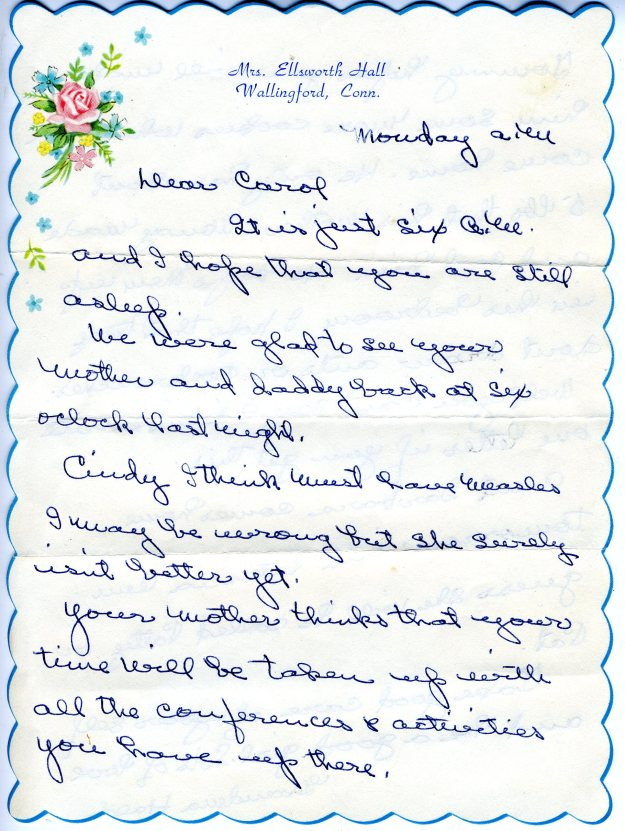 Grandma Hall's letter to me at Silver Lake Camp, front page, summer, 1958