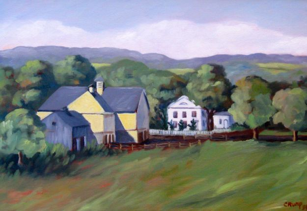 """The Hall Farm,"" Carol Crump Bryner, oil on canvas, 1998, after a painting by Janet Hall Crump"