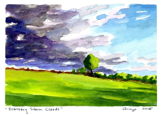 """Retreating Storm Clouds,"" Carol Crump Bryner, gouache, 2015"