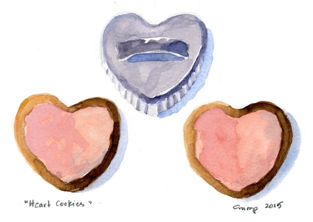 """Heart Cookies,"" Carol Crump Bryner, gouache and colored pencil, 2015"