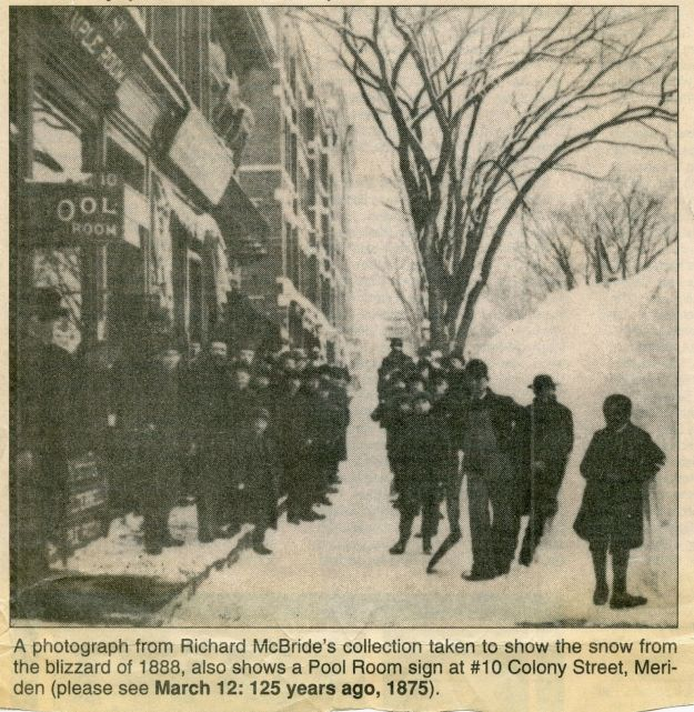 Newspaper clipping about the 1888 blizzard.