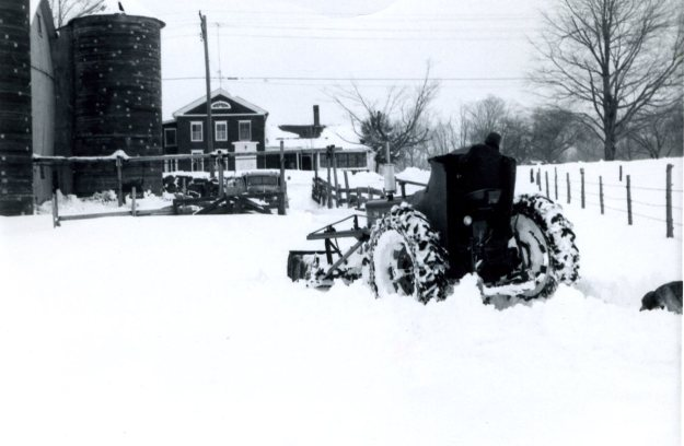 The barnyard of the Hall farm on Whirlwind Hill after a snowstorm