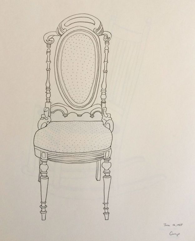 """The Fancy Chair,"" Carol Crump Bryner, pencil drawing, 1985"