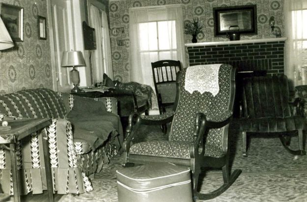 The farmhouse living room in the 1940's