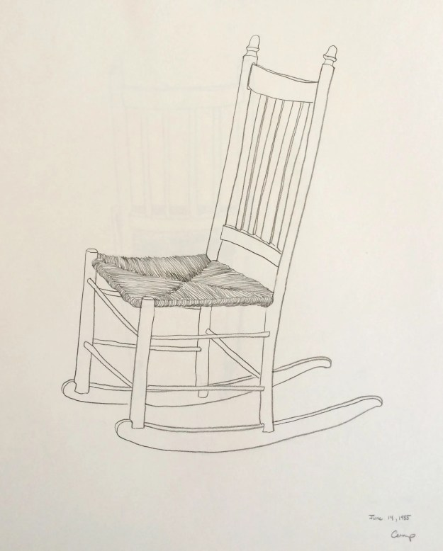 """The Low Rocking Chair,"" Carol Crump Bryner, pencil drawing, 1985"