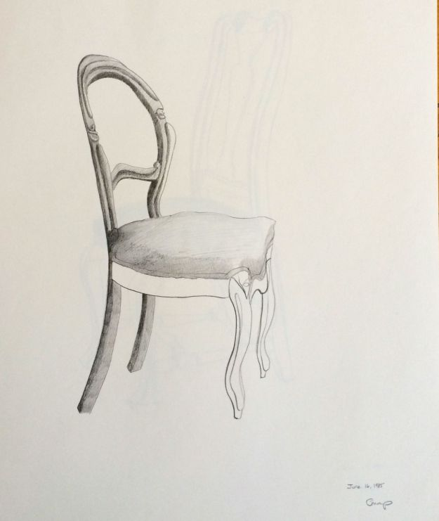 """The Chair with the Velvet Seat,"" Carol Crump Bryner, pencil drawing, 1985"