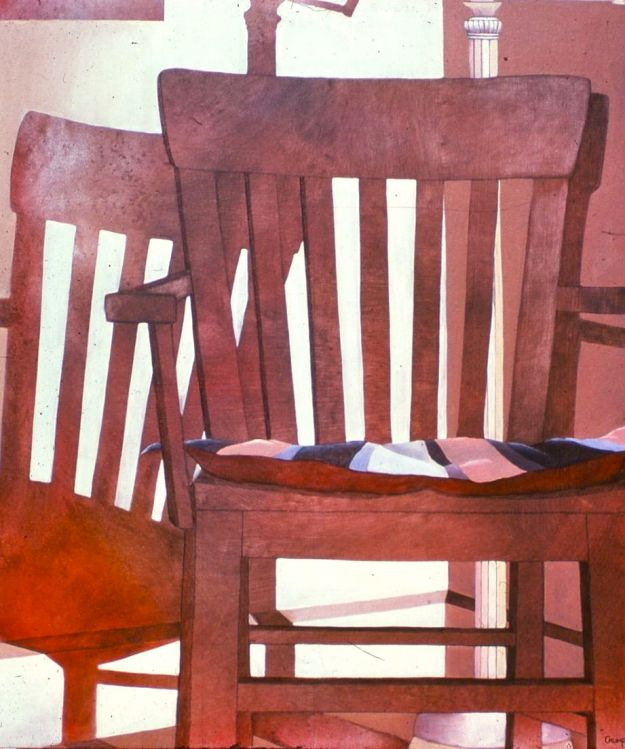 """Chair and Shadow,"" Carol Crump Bryner, oil on canvas, 1974"