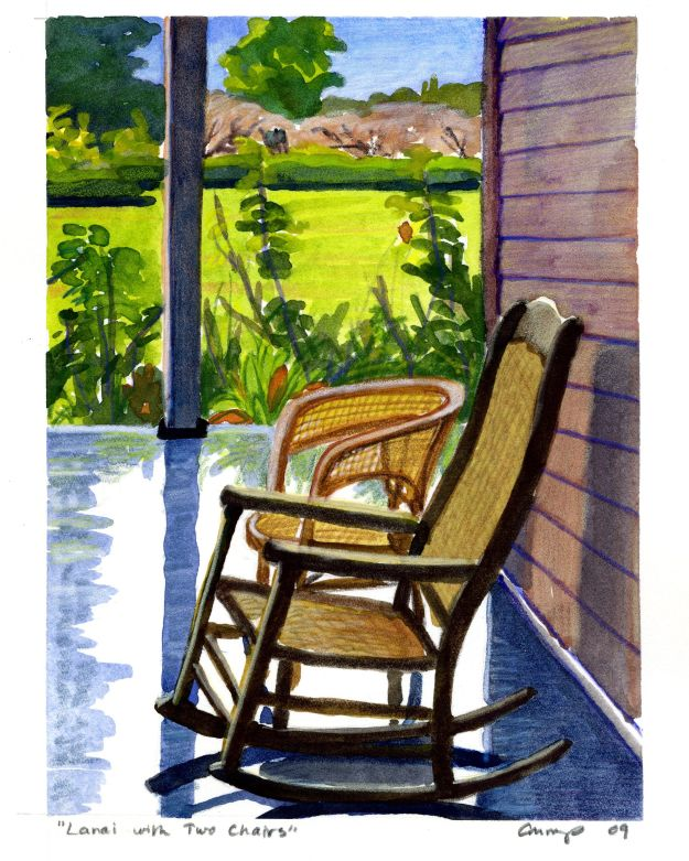 """Lanai with Two Chairs,"" Carol Crump Bryner, gouache and colored pencil, 2009"