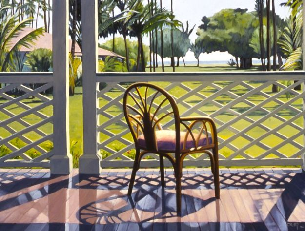 """Waimea Plantation Porch,"" Carol Crump Bryner, oil on canvas, 26"" x 34"" 2000"