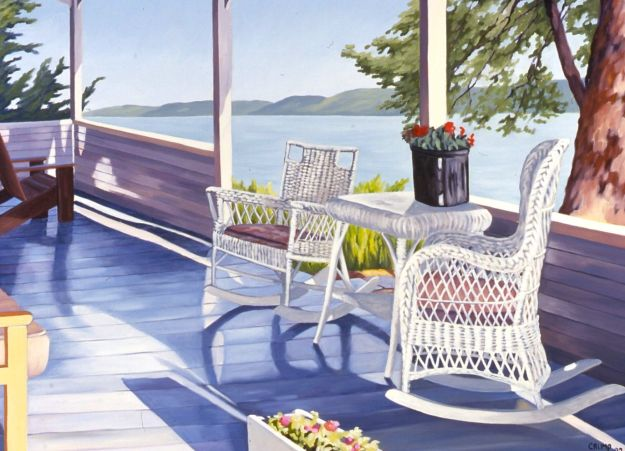 """Porch by the Lake,"" Carol Crump Bryner, oil on canvas, 30"" x 40"" 1997"