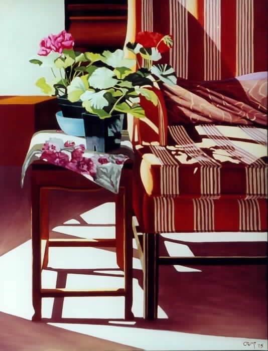 """Striped Chair with Two Geranimus,"" Carol Crump Bryner, oil on canvas, 34"" x 26"" 2005"