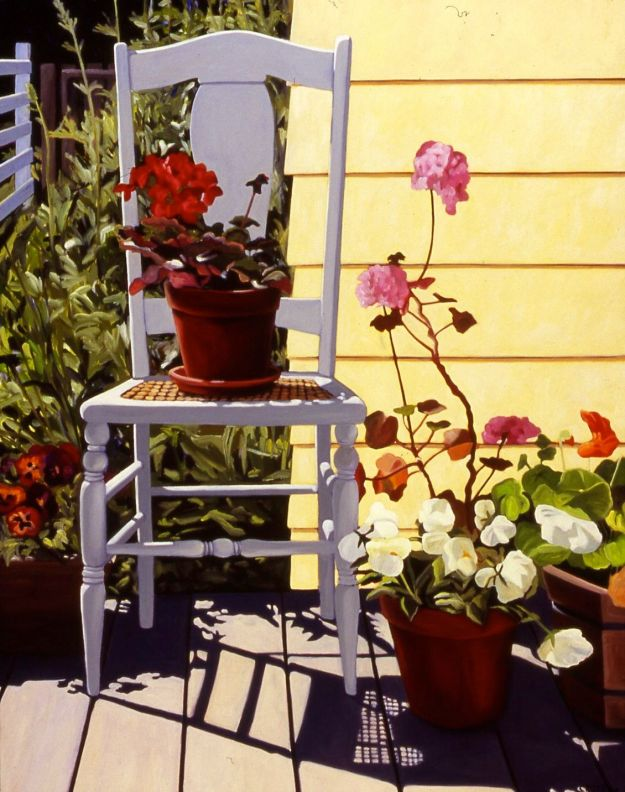 """White Chair with Pansies and Geraniums,"" Carol Crump Bryner, oil on canvas, 34"" x 26"" 2005"