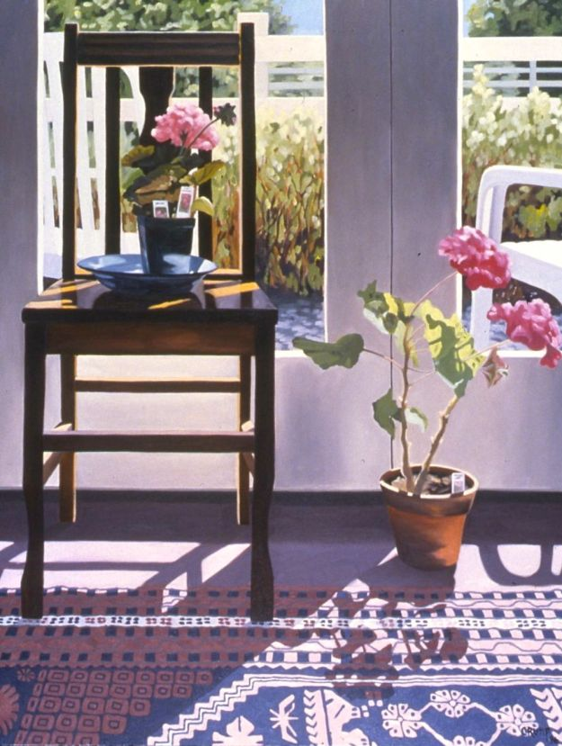 """Dark Chair and Pink Geraniums,"" Carol Crump Bryner, oil on canvas, 40"" x 32"" 1996"
