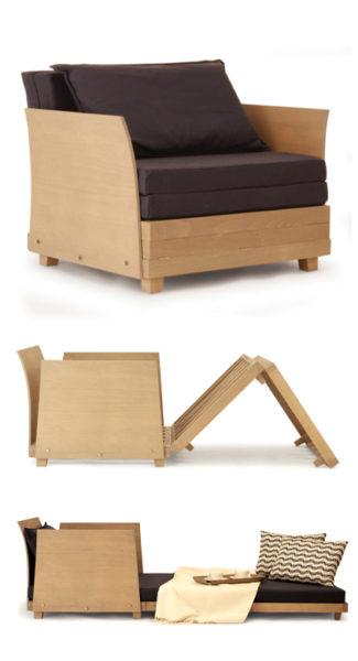 Dalla collezione plinioltre, la poltrona letto Box in Bed