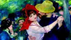 particolare di un quadro di Renoir, che ritrae una giovane coppia danzante