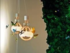 Una lampadina a bulbo con intorno piccoli insetti colorati
