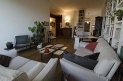 Immagine di un salotto con divani bianchi, cuscini, tavolino, tv