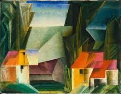 quadro di Lyonel Feininger, raffigurante paesaggio con case