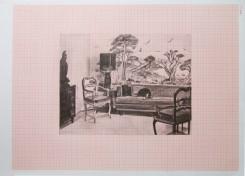 interno domestico, salotto. disegno a matita su carta millimetrata
