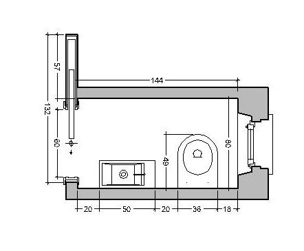 bagno da 80 cm: porta scorrevole interno muro