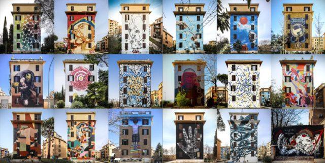 I murales di Tor Marancia a Roma, visione d'insieme