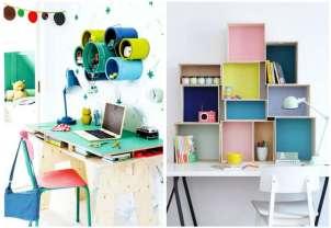 piccolo tavolo e ripiani colorati per 2 diversi angolo studio bambini