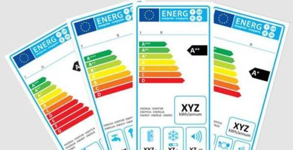 attuali etichette energetiche per elettrodomestici