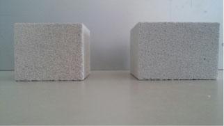 Provino di biocemento da lievito di birra a confronto con provino di cemento cellulare comune
