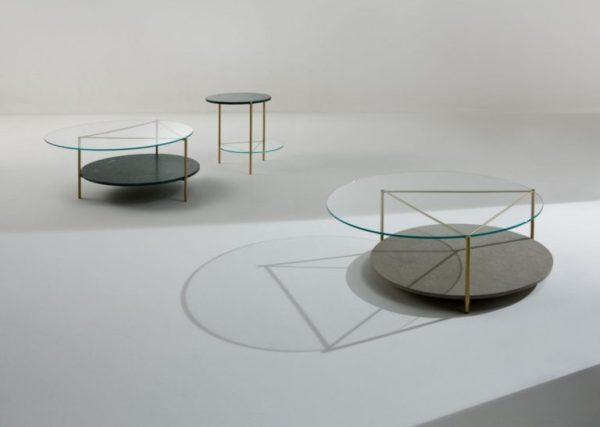 Tavolino in marmo e metallo Echo di Laurameroni