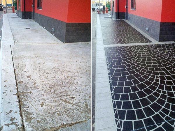 pavimento e detrazioni fiscali: nella foto il rifacimento di un pavimento esterno condominiale