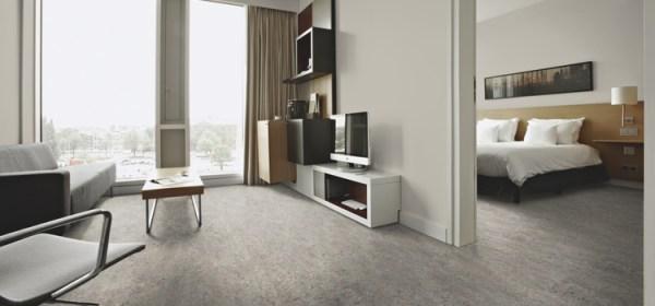 pavimenti in linoleum : foto soggiorno e camera da letto con linoleum Bricoflor