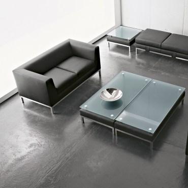 sedute poltrone luxy serie cube ergonomica fissa ufficio attesa schienale medio singolo due tre posti imbottita pelle colore nero