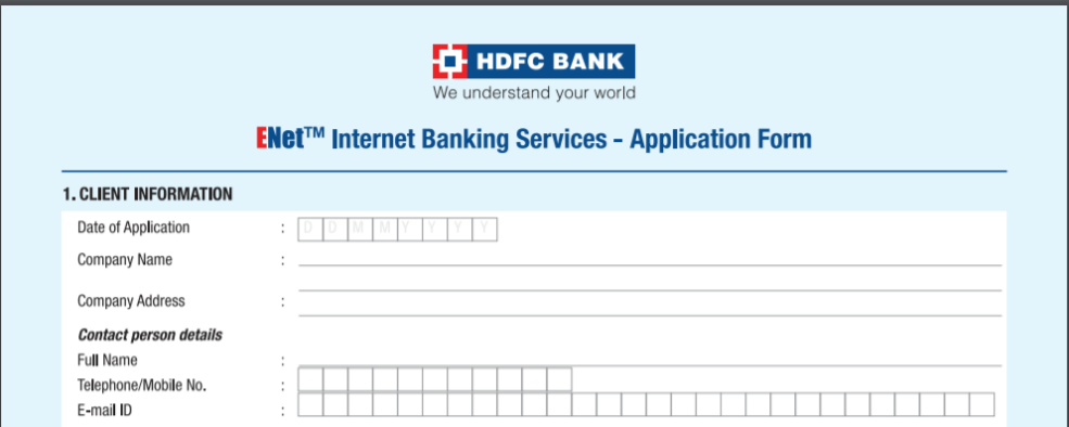 ENET HDFC APPLICATION FORM