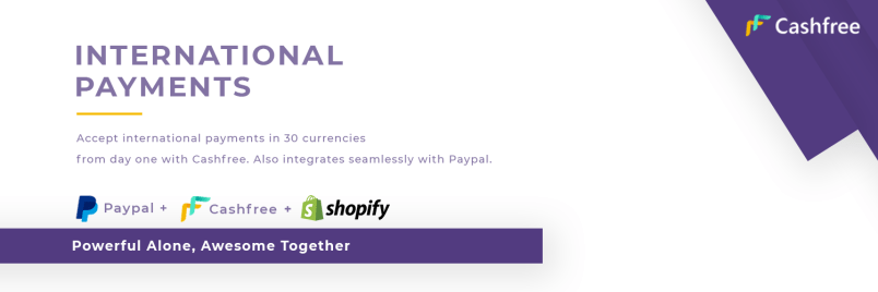 Cashfree payment gateway provides direct Paypal integration on Shopify India webstore