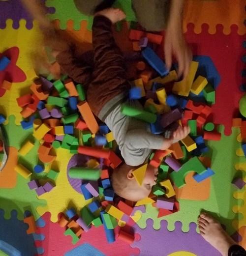 Foam blocks in a pile.