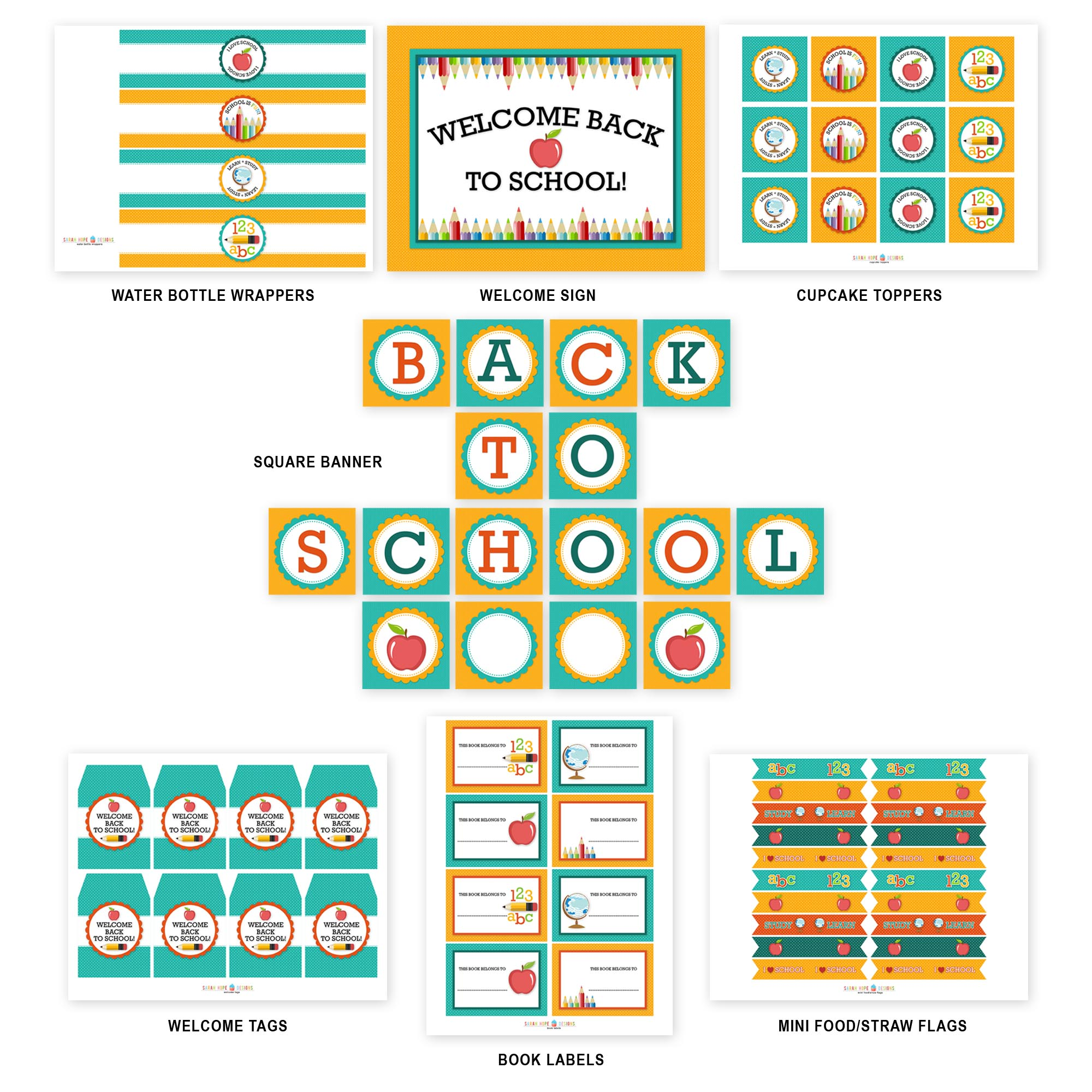 Free Back To School Party Printables From Sarah Hope Designs