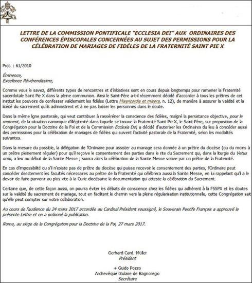 La Lettre publiée par le Vatican d'Eux