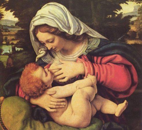 La Vierge reine des vierges allaitant son enfant