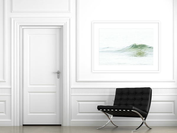 How to size art for walls: Ocean Waves No 5 in living room by Cattie Coyle Photography