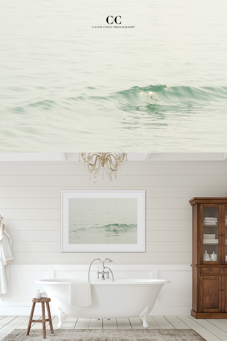 Ocean Waves - Soothing water images by Cattie Coyle Photography. Available from small to large  unframed or framed art prints. #bathroomdecor #bigwallart #soothingart #stressrelief #calm #cattiecoylephotography