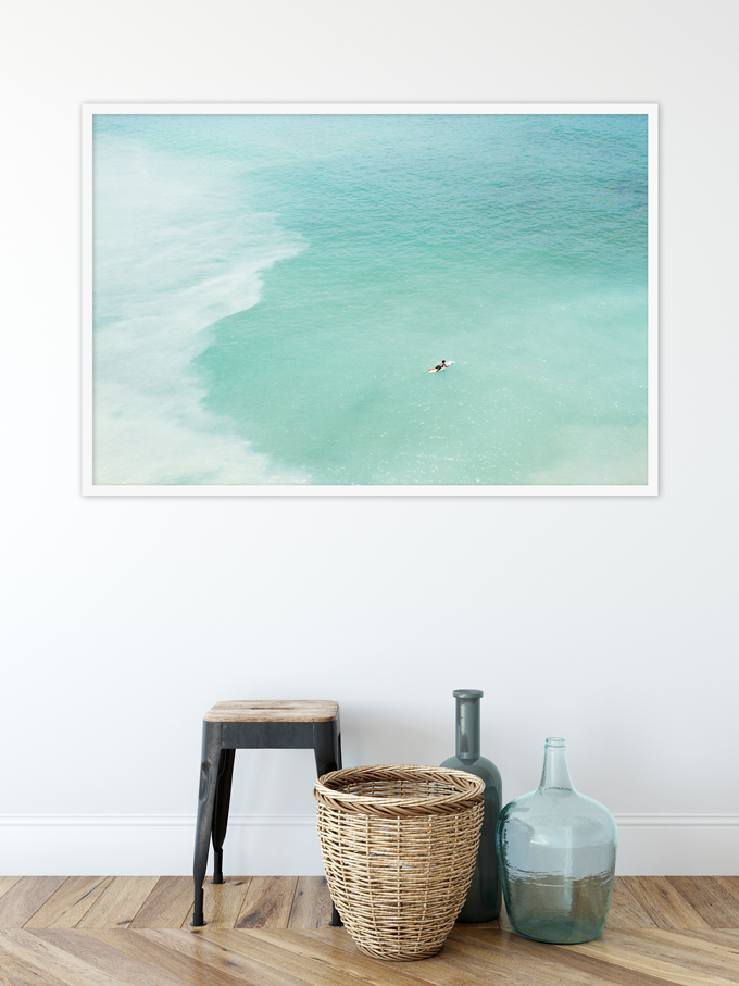 Magoito No 13 - Surfer and seafoam green water aerial view fine art prints by Cattie Coyle Photography