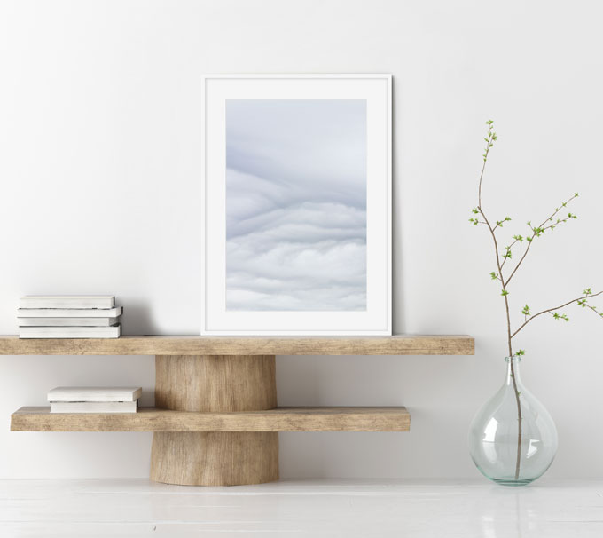 Clouds No 3 - Abstract blue and white art print by Cattie Coyle Photography