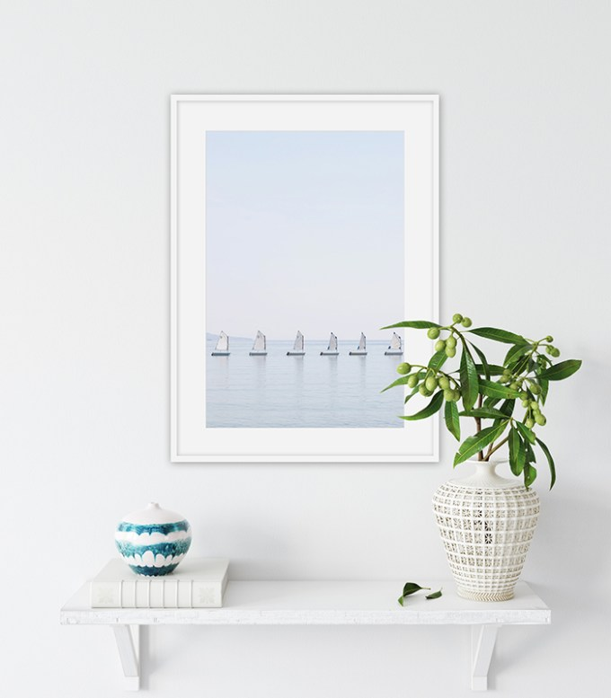 The Little Sailboats No 2 - Minimalist nautical wall art by Cattie Coyle Photography