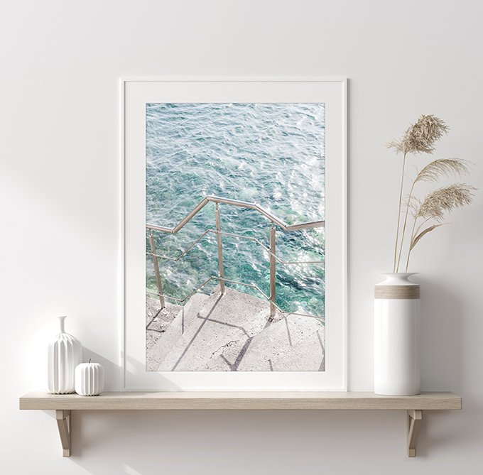Steps to the Sea - Green water with sun glitter art print by Cattie Coyle Photography