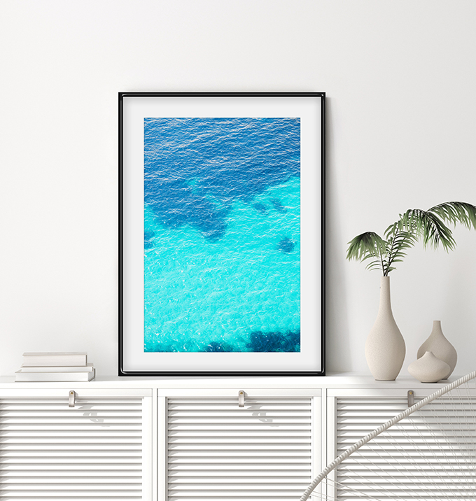 Turquoise Water No 2 - Mediterranean Sea aerial wall art by Cattie Coyle Photography