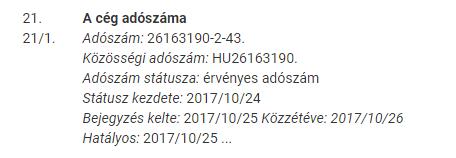 adószám ellenőrzés cégjegyzék 21. rovat