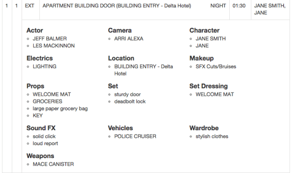 film shoot call sheet schedule