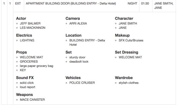film shoot call sheet schedule